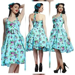 Hell bunny vixen floral turquoise may Day dress S